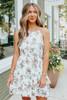 Halter White Floral Tiered Ruffle Hem Dress