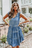 V-Neck Vintage Chambray Tiered Dress
