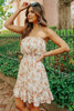 Strapless Cream Floral Ruffle Hem Dress