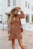 V-Neck Smocked Rust Printed Empire Dress