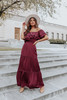 Off the Shoulder Wine Tiered Satin Maxi