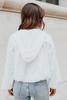 V-Neck Contrast Ivory Crinkle Hoodie