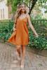 V-Neck Rust Empire Swing Dress