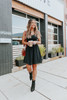 V-Neck Smocked Ruffle Black Crinkle Dress