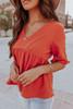 Short Sleeve V-Neck Rust Babydoll Top