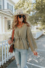 Button Detail Crochet Sleeve Olive Drawstring Top