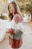 Mock Neck Colorblock Chenille Sweater