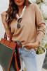 V-Neck Camel Shirt Combo Sweater