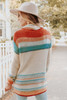 Autumn Sky Cowl Neck Multi Stripe Sweater