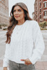 French Quarter White Cable Chenille Sweater