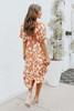 Short Sleeve Orange Floral Tiered Midi Dress