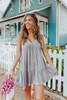 V-Neck Ditsy Grey Floral Babydoll Dress