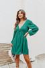 V-Neck Green Dotted Empire Dress