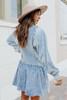 Contrast Stripe Denim Ruffle Shirt Dress