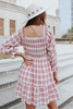 Square Neck Smocked Pink Plaid Dress
