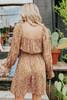 Square Neck Tie Detail Gold Floral Dress