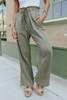 Drawstring Frayed Olive Crinkle Pants