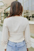 V-Neck Lace Detail Cream Smocked Empire Top