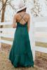 Seraphina Cross Back Green Satin Tiered Maxi