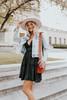 V-Neck Cross Back Black Ruffle Dress