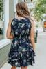 Halter Navy Floral Tiered Ruffle Hem Dress