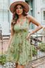 V-Neck Olive Floral Ruffle Hem Dress