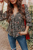 Sweetheart Black Floral Empire Top