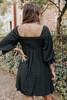 Square Neck Puff Sleeve Black Grid Dress