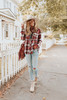 Button DButton Down Red Plaid Babydoll Shirtown Red Plaid Babydoll Shirt