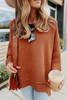 3/4 Sleeve Textured Rust Asymmetrical Sweater