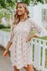 3/4 Peplum Sleeve Floral Babydoll Dress