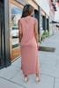 Tour of Italy Side Slit Tawny Midi Dress