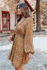 Surplice Ruffle Copper Floral Dress