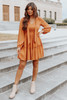 V-Neck Tie Detail Rust Dotted Tiered Dress