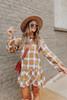 Rory Camel Plaid Ruffle Hem Shirt Dress
