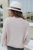 Mock Neck Cream Textured Pom Sweater