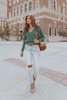 Sweet Temptation Cross Front Green Ribbed Sweater