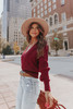 Sweet Temptation Cross Front Wine Ribbed Sweater