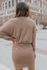Surplice Heather Oatmeal Brushed Ribbed Dress