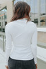Last Call Mock Neck White Ribbed Top