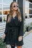 Social Hour Surplice Pleated Black Dress