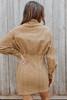 Button Down Taupe Corduroy Shirt Dress