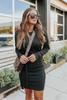 Tuscany Tie Waist Black Sweater Dress