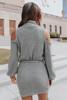 Mock Neck Tie Waist Grey Waffle Dress