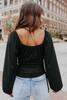 Scoop Neck Ruched Side Black Top