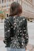 Tie Front Black Floral Peplum Blouse
