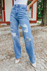 Oh Snap Distressed Medium Wash Relaxed Jeans