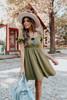 Square Neck Olive Tie Back Textured Dress