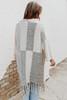 Short Sleeve Mixed Colorblock Fringe Cardigan