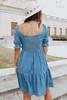 V-Neck Puff Sleeve Denim Dress